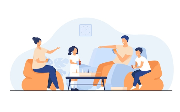 Conceito de atividades em casa da família. feliz menino e menina com pais jogando jogos de tabuleiro com cartas e dados na sala de estar. para entretenimento, união, ter tópicos juntos Vetor grátis