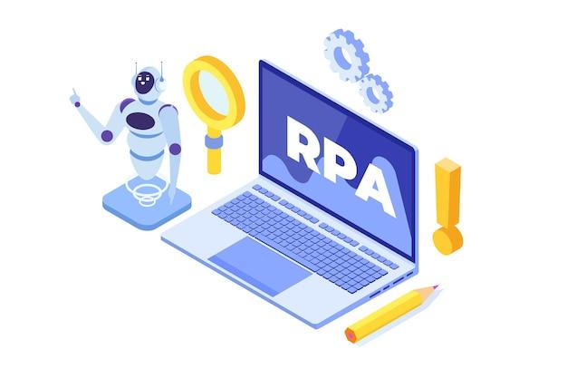 Conceito de automação de processos robóticos, rpa. robot ou chat bot ajuda as pessoas em diferentes tarefas. Vetor Premium