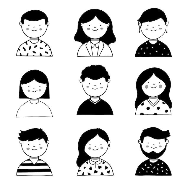 Conceito de avatar de pessoas ilustrado Vetor grátis