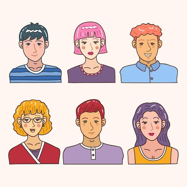 Conceito de avatar de pessoas para design ilustração Vetor grátis