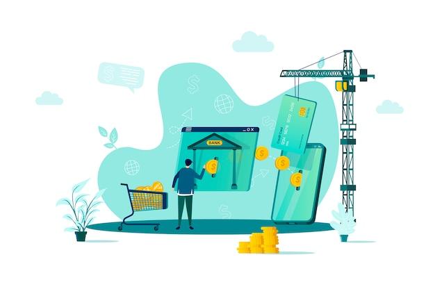 Conceito de banco móvel em grande estilo com personagens de pessoas em situação Vetor Premium