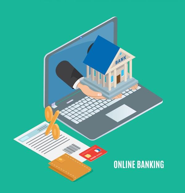 Conceito de banco on-line, banner de vetor de desenho animado Vetor Premium