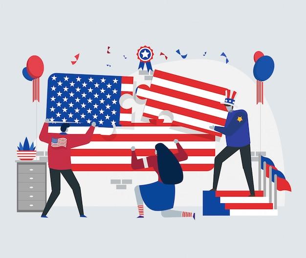 Conceito de bandeira do dia da independência de américa Vetor Premium