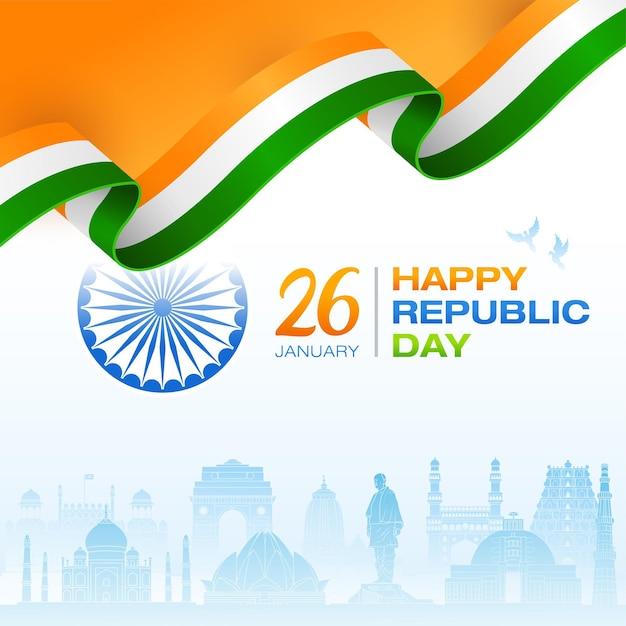 Conceito de bandeira indiana dia da república fundo de monumentos indianos Vetor Premium
