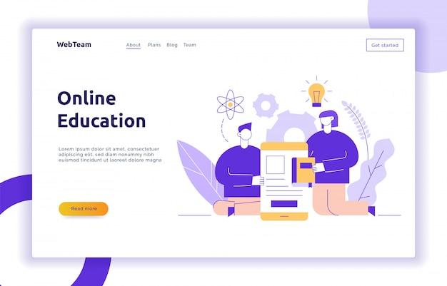 Conceito de banner de página da web de educação on-line de vetor Vetor Premium