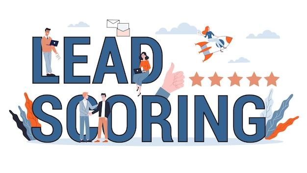 Conceito de banner de pontuação de chumbo. ideia de avaliação do cliente líder. estratégia de marketing. ilustração Vetor Premium