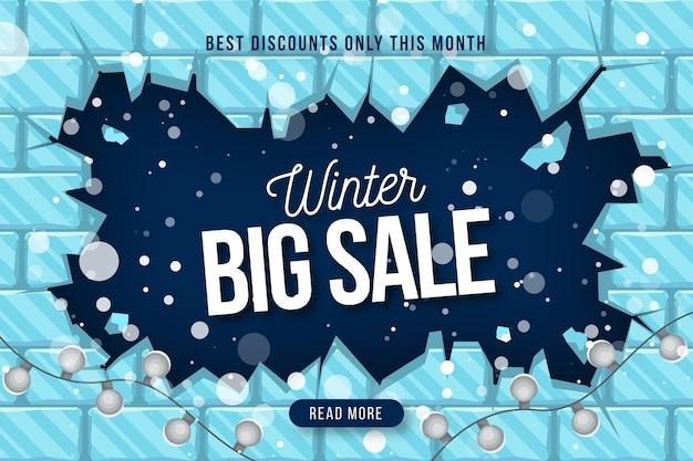 Conceito de banner de venda de inverno design plano Vetor grátis