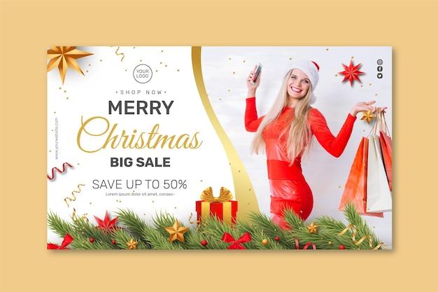 Conceito de banner de vendas de natal Vetor Premium