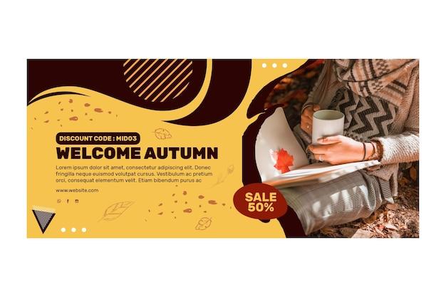 Conceito de banner do meio do outono Vetor Premium