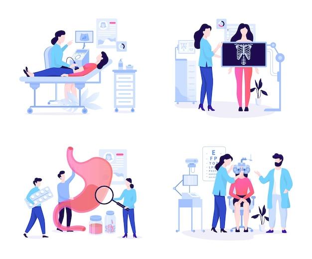 Conceito de banner web de oculista e ultra-som, raio-x e gastroenterologia. ideia de tratamento médico no hospital. ilustração Vetor Premium