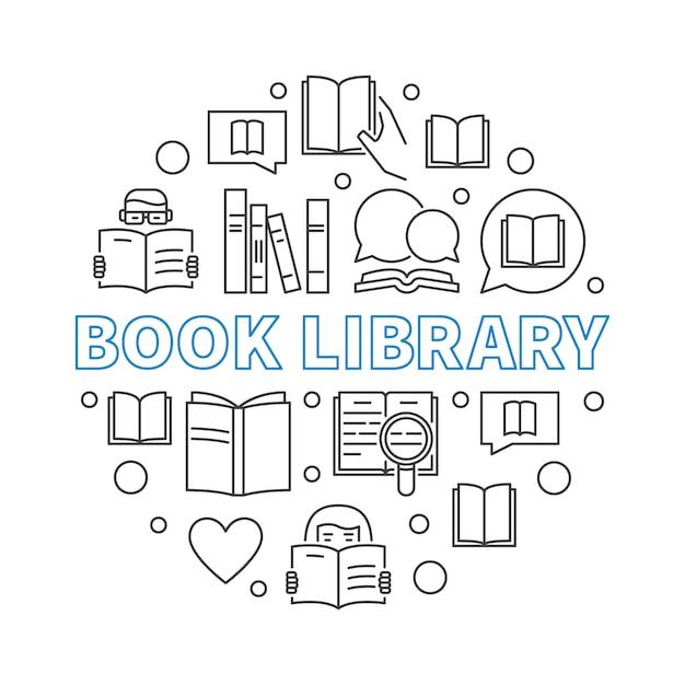 Conceito de biblioteca de livros redondo ilustração de contorno Vetor Premium