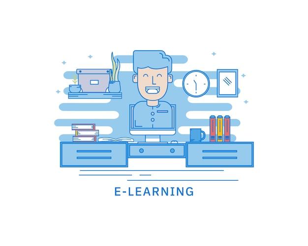 Conceito de biblioteca móvel de e-learning conceito de página da web Vetor Premium
