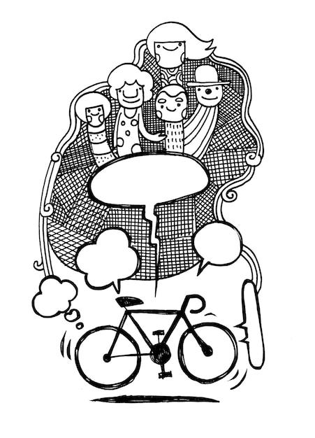 Conceito de bicicleta mão desenhada illustration.text bubble.doodle Vetor Premium