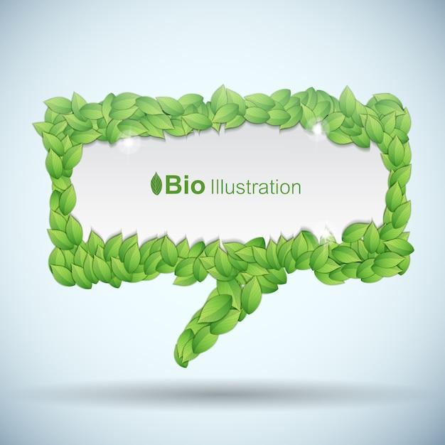 Conceito de bio com bolha do discurso feito de folhas de greel Vetor grátis