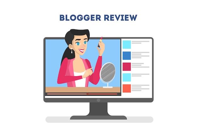 Conceito de blogger de vídeo. celebridade da internet na rede social Vetor Premium