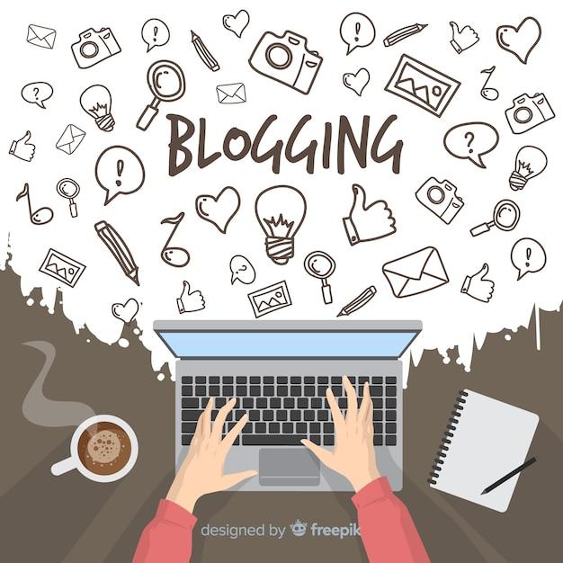 Conceito de blogging doodle Vetor Premium