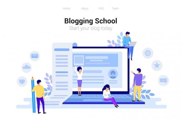 Conceito de blogging e copywriting Vetor Premium