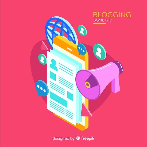 Conceito de blogging isométrico Vetor grátis