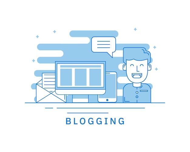 Conceito de blogging para o conceito de página da web Vetor Premium