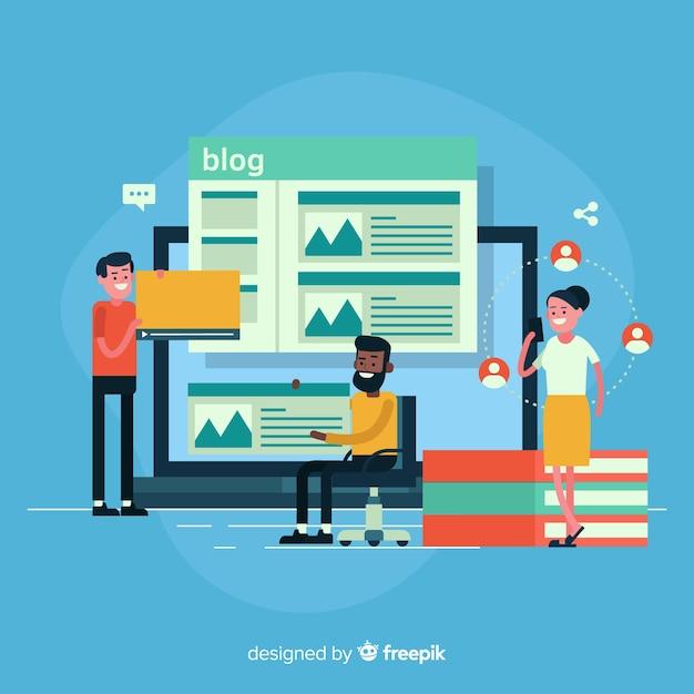 Conceito de blogging Vetor grátis