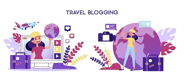 Conceito de blogueiro de viagens. mulher gravando vídeo para blog Vetor Premium