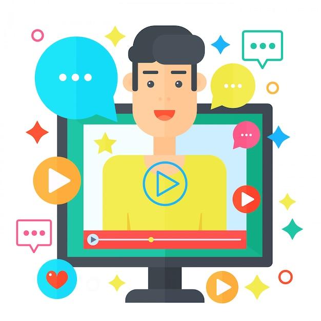 Conceito de blogueiro de vídeo Vetor Premium
