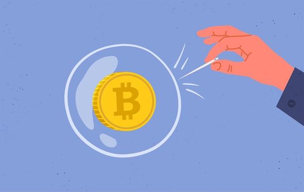 Conceito de bolha e especulação bitcoin. bolha financeira. ilustração plana. Vetor Premium