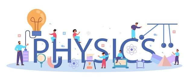 Conceito de cabeçalho tipográfico do assunto de escola de física. os cientistas exploram eletricidade, magnetismo, ondas de luz e forças. estudo teórico e prático. Vetor Premium