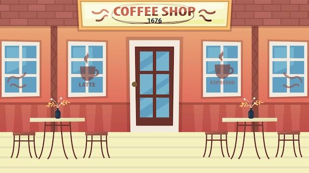 Conceito de café ou bistrô. exterior moderno do café urbano aconchegante sem pessoas. restaurante vazio com mobília. café ao ar livre de verão. mesa e poltrona vazias. ilustração em vetor plana dos desenhos animados. Vetor Premium