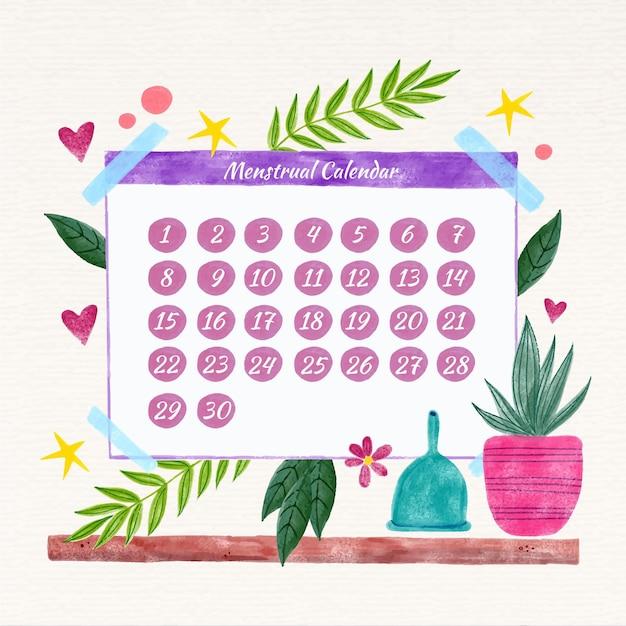 Conceito de calendário menstrual colorido Vetor grátis