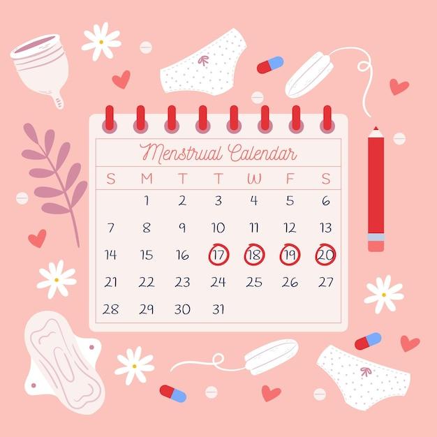 Conceito de calendário menstrual ilustrado Vetor grátis