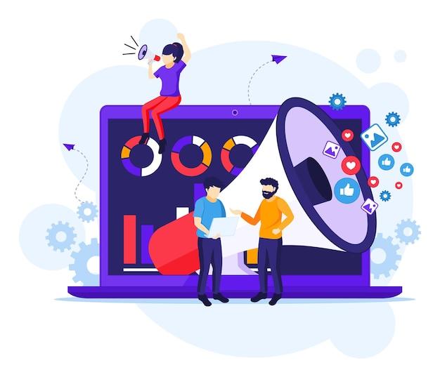 Conceito de campanha de estratégia de marketing, pessoas segurando e gritando no megafone gigante, ilustração do programa de vendas Vetor Premium
