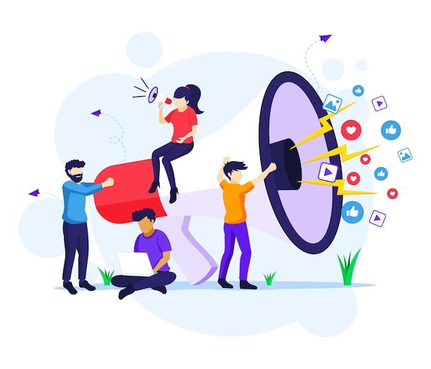 Conceito de campanha de estratégia de marketing, pessoas segurando e gritando no megafone gigante para ilustração do programa de promoção e vendas Vetor Premium