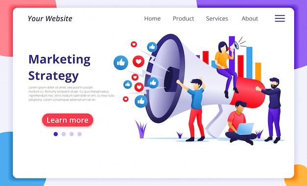 Conceito de campanha de estratégia de marketing, pessoas segurando e gritar no megafone gigante para programa de promoção e vendas. modelo de página de destino do site Vetor Premium