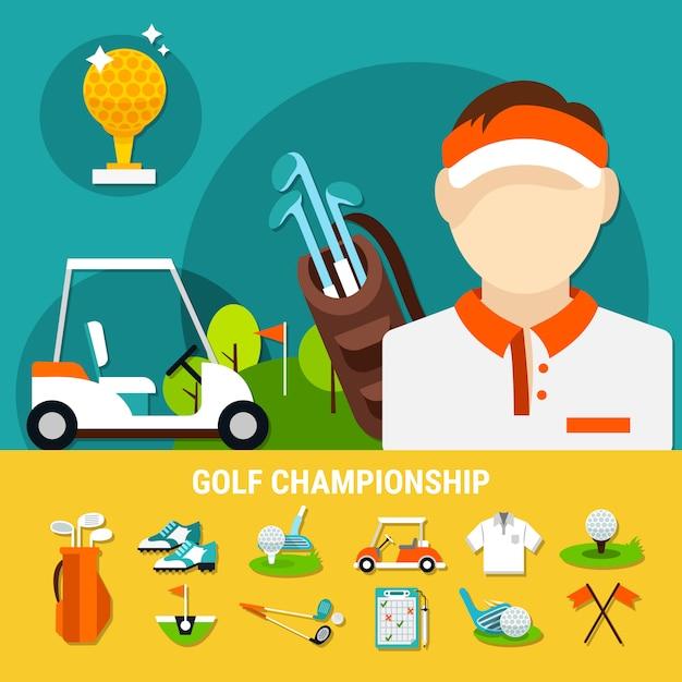 Conceito de campeonato de golfe Vetor grátis
