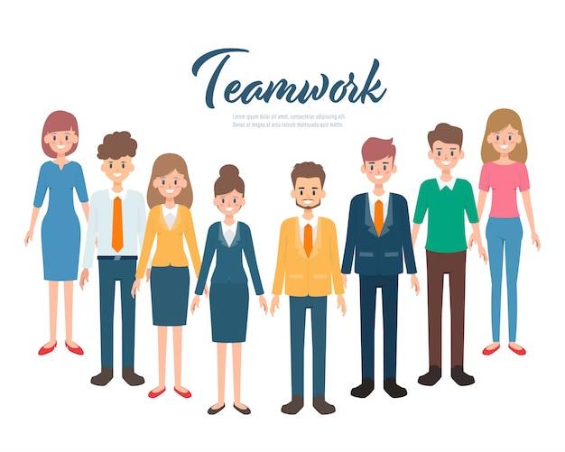 Conceito de caractere de pessoas de negócios de trabalho em equipe. Vetor Premium