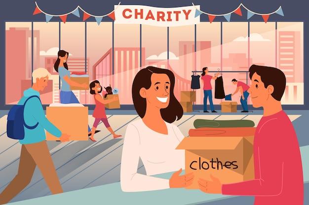 Conceito de caridade. as pessoas doam coisas para ajudar os pobres. faça uma doação e compartilhe o amor. idéia de ajuda humanitária. ilustração Vetor Premium