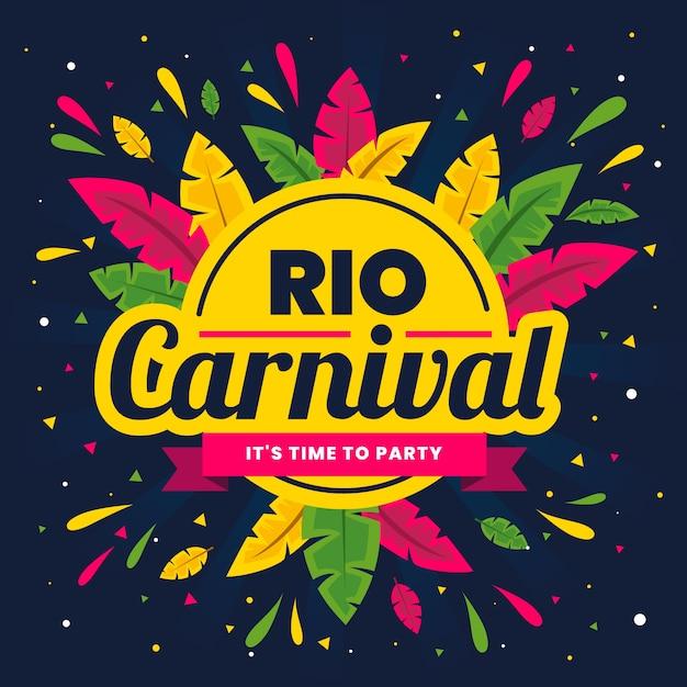 Conceito de carnaval brasileiro de design plano Vetor grátis