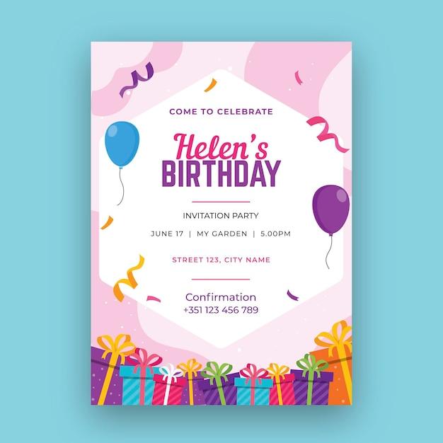 Conceito de cartão de aniversário Vetor Premium