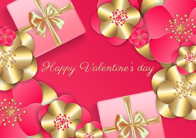 Conceito de cartão de dia dos namorados. plano de fundo romântico. Vetor Premium