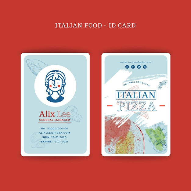 Conceito de cartão de identificação de comida italiana Vetor grátis