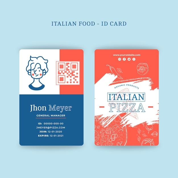 Conceito de cartão de identificação de comida italiana Vetor Premium