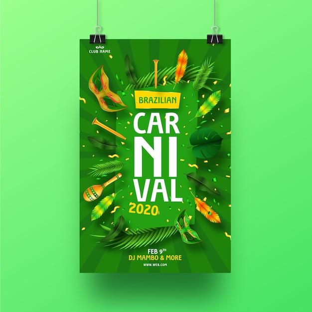 Conceito de cartaz de carnaval brasileiro realista para modelo Vetor grátis