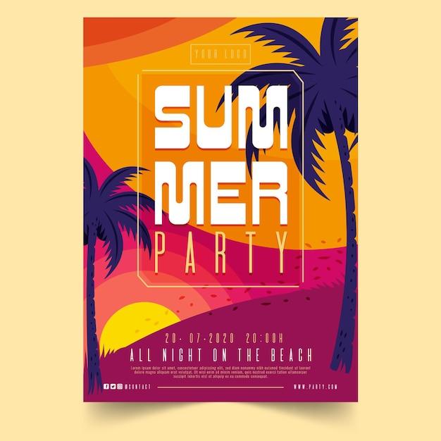 Conceito de cartaz de festa de verão Vetor grátis
