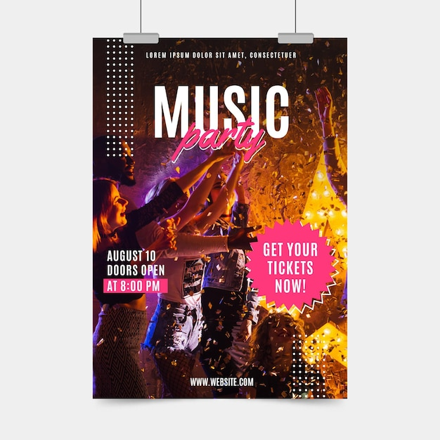 Conceito de cartaz festival de música 2021 Vetor grátis