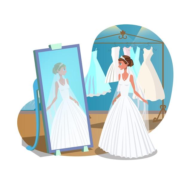 Conceito de cartaz plano de preparações de casamento Vetor Premium