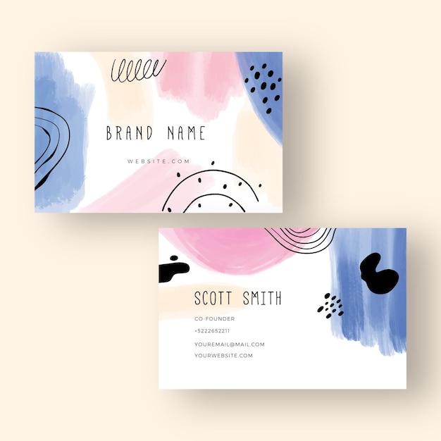 Conceito de cartões de visita pintados à mão Vetor grátis