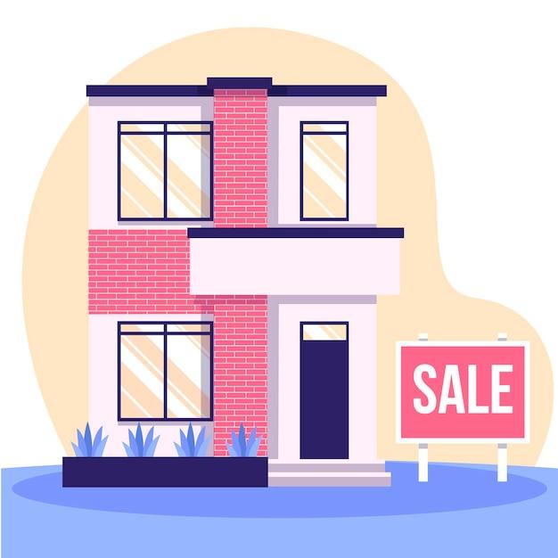 Conceito de casa à venda com sinal Vetor grátis