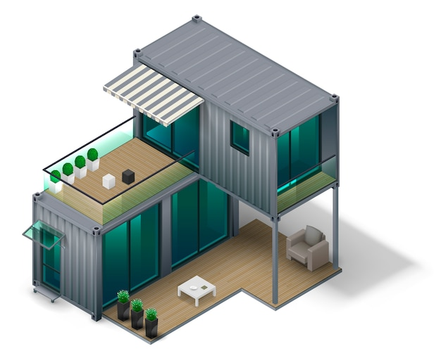 Conceito de casa de contêiner Vetor Premium