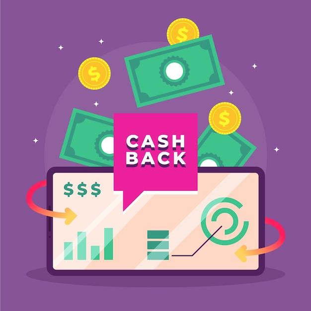 Conceito de cashback com notas e moedas Vetor grátis